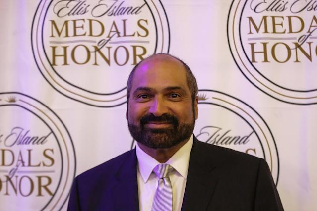 Former American football player Franco Harris attends the 2018 Ellis Island Medals of Honor ceremony in Manhattan, New York, U.S., May 12, 2018. REUTERS/Jeenah Moon