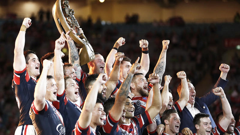 The Sydney Roosters are pictured celebrating their 2019 NRL premiership, after defeated the Canberra Raiders.