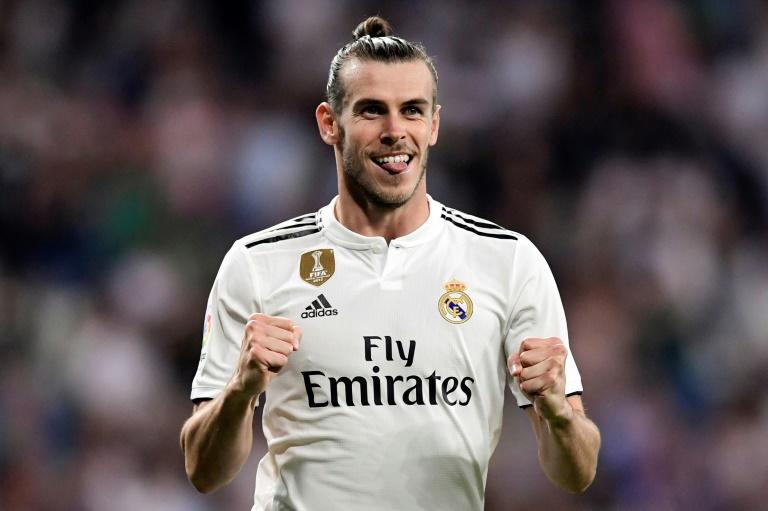 On target: Real Madrid's  Gareth Bale celebrates after scoring the second goal