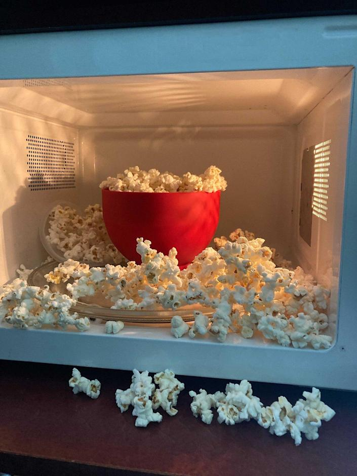 Popcorn that over popped in a microwave