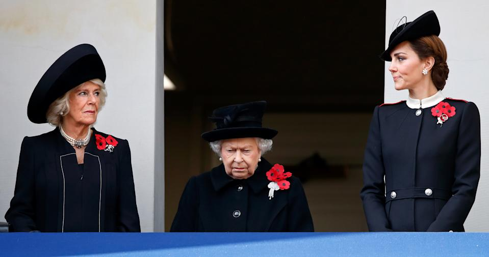Camilla, Duchess of Cornwall, Queen Elizabeth II and Catherine, Duchess of Cambridge attend the annual Remembrance Sunday Service at The Cenotaph on November 11, 2018 in London, England. The armistice ending the First World War between the Allies and Germany was signed at Compiègne, France on eleventh hour of the eleventh day of the eleventh month - 11am on the 11th November 1918. This day is commemorated as Remembrance Day with special attention being paid for this year's centenary.
