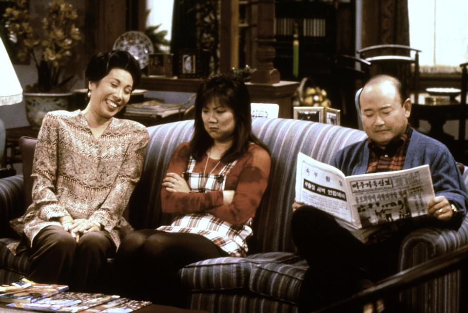 Cho (center) with her sitcom parents, Jodie Long and Clyde Kusatsu on the short-lived series, 'All-American Girl' (Photo: Touchstone Televison / Courtesy: Everett Collection)
