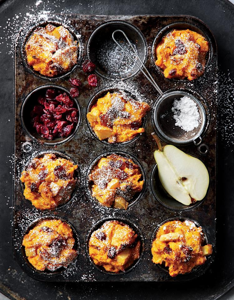 """<p>Bosc or Anjou pears will also work here, as long as they're ripe. Your bare hands do the best job of mixing the bread into the egg.</p> <p><a href=""""https://www.myrecipes.com/recipe/muffin-tin-pumpkin-and-pear-stratas"""">Muffin-Tin Pumpkin-and-Pear Stratas Recipe</a></p>"""