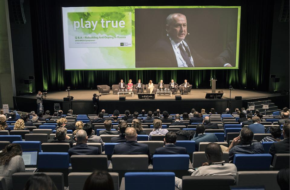 LAUSANNE, SWITZERLAND - MARCH 21, 2018: Russian Anti-Doping Agency (RUSADA) Director General Yuri Ganus (on screen) speaks during the 2018 WADA Annual Symposium. The symposium is to discuss if the Russian Anti-Doping Agency (RUSADA) is compliant with the World Anti-Doping Code. Mikhail Japaridze/TASS (Photo by Mikhail Japaridze\TASS via Getty Images)