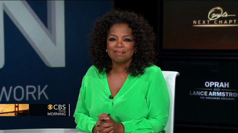 "Frame grab obtained January 15, 2013, courtesy of CBS News shows Oprah Winfrey on ""CBS This Morning"" as she discusses her upcoming interview with Lance Armstrong. Winfrey's exclusive interview with Lance Armstrong is a coup for the talk show diva as she strives to pull her upstart OWN network to the front of the crowded TV peloton"