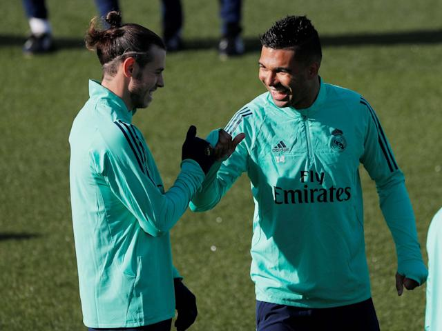 Real Madrid's Gareth Bale and Casemiro during training: REUTERS