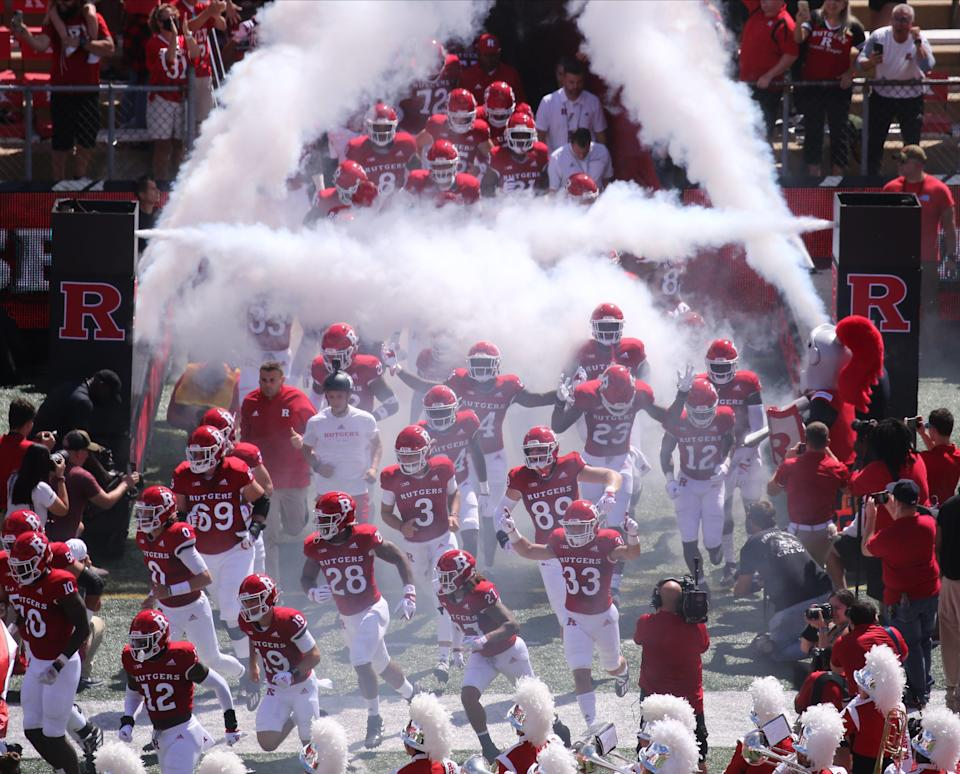 Rutgers comes onto the field to start the game as Temple played Rutgers in the season opener at SHI Stadium in Piscataway, NJ on September 4, 2021.
