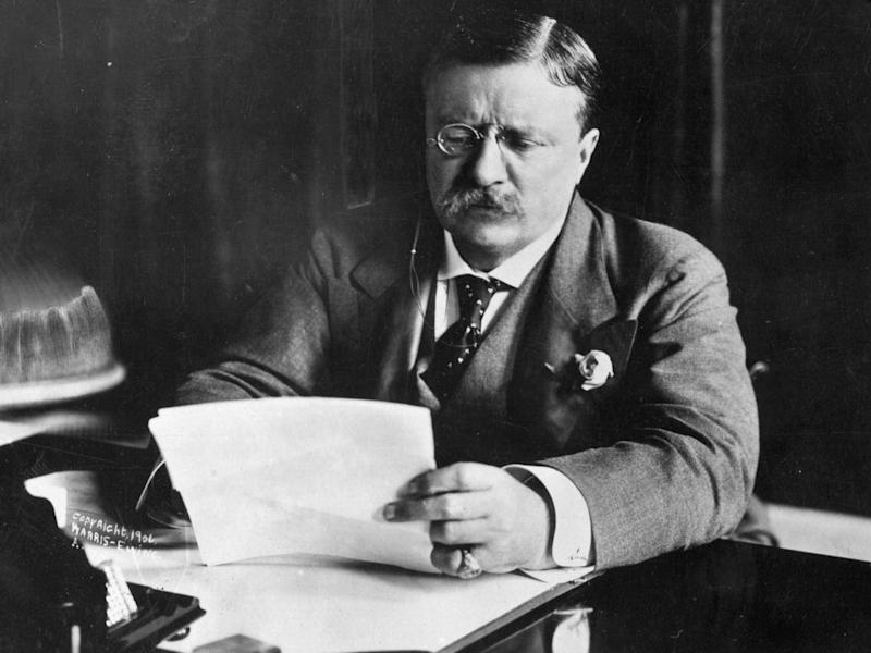 Theodore Roosevelt at work in his study (Getty)