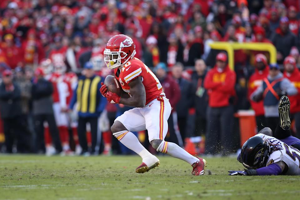 Tyreek Hill made a 48-yard reception on fourth down to help save the Chiefs on Sunday against the Ravens. (Getty Images)