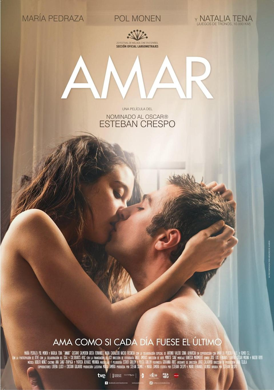 """<p>In the Spanish film <a href=""""https://www.netflix.com/title/80113589"""" class=""""link rapid-noclick-resp"""" rel=""""nofollow noopener"""" target=""""_blank"""" data-ylk=""""slk:Amar""""><strong>Amar</strong></a>, two young people discover the intensity of first love while also struggling to face the world of adulthood.</p>"""