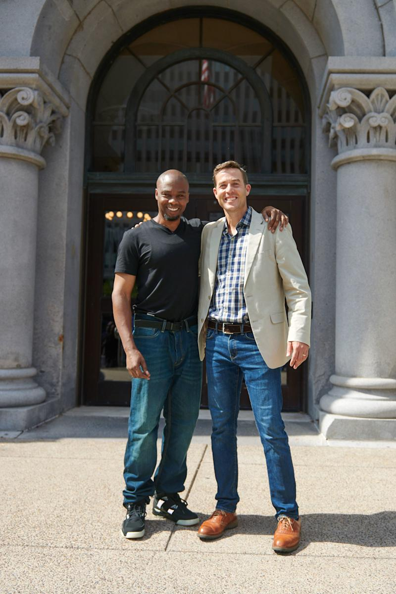 Dixon and Adler enjoy a moment together on the courthouse steps after Valentino's release.