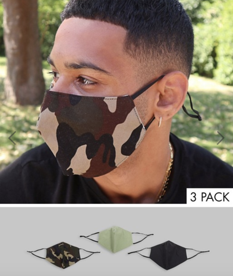 ASOS DESIGN 3 pack face coverings with adjustable straps and nose clip, US$23. PHOTO: ASOS