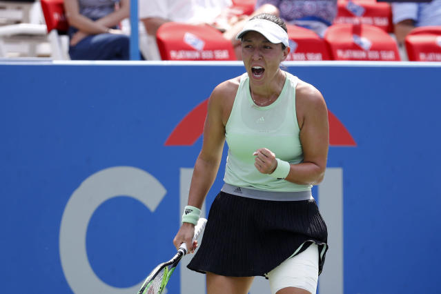 Jessica Pegula reacts during a final match against Camila Giorgi, of Italy, at the Citi Open tennis tournament, Sunday, Aug. 4, 2019, in Washington. (AP Photo/Patrick Semansky)