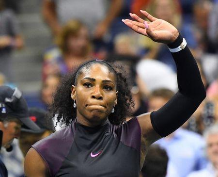 Sept 1, 2016; New York, NY, USA; Serena Williams of the USA waves to the crowd after defeating Vania King of USA (not pictured) on day four of the 2016 U.S. Open tennis tournament at USTA Billie Jean King National Tennis Center. Mandatory Credit: Robert Deutsch-USA TODAY Sports / Reuters Picture Supplied by Action Images *** Local Caption *** 2016-09-02T003534Z_1348873008_NOCID_RTRMADP_3_TENNIS-U-S-OPEN.JPG