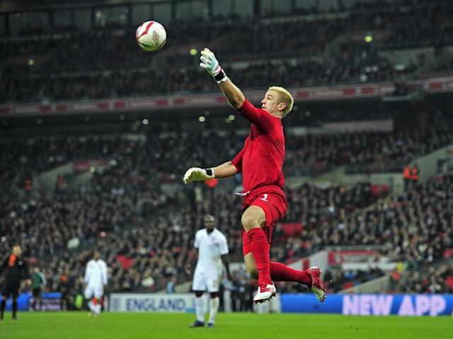 Joe Hart of England claims the ball during the International friendly football match between England and The Netherlands at Wembley Stadium in London on February 29, 2012. NOT FOR MARKETING OR ADVERTISING USE / RESTRICTED TO EDITORIAL USE (Photo by Glyn Kirk/AFP/Getty Images)