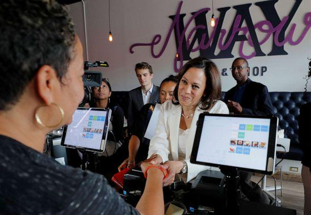 PHOTO: Presidential candidate and Senator Kamala Harris makes a campaign visit to the Narrow Way Cafe and Shop in Detroit, Mich., July 29, 2019. (Brian Snyder/Reuters)