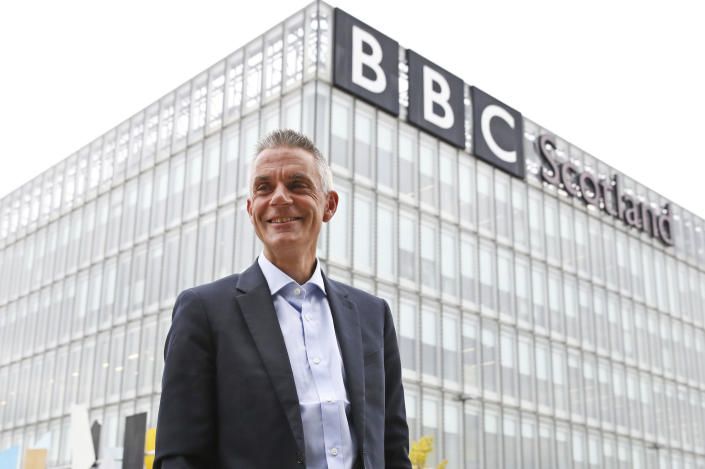 Tim Davie, new Director General of the BBC, arrives at BBC Scotland in Glasgow, Tuesday Sept. 1, 2020, for his first day in the role. (Andrew Milligan/PA via AP)