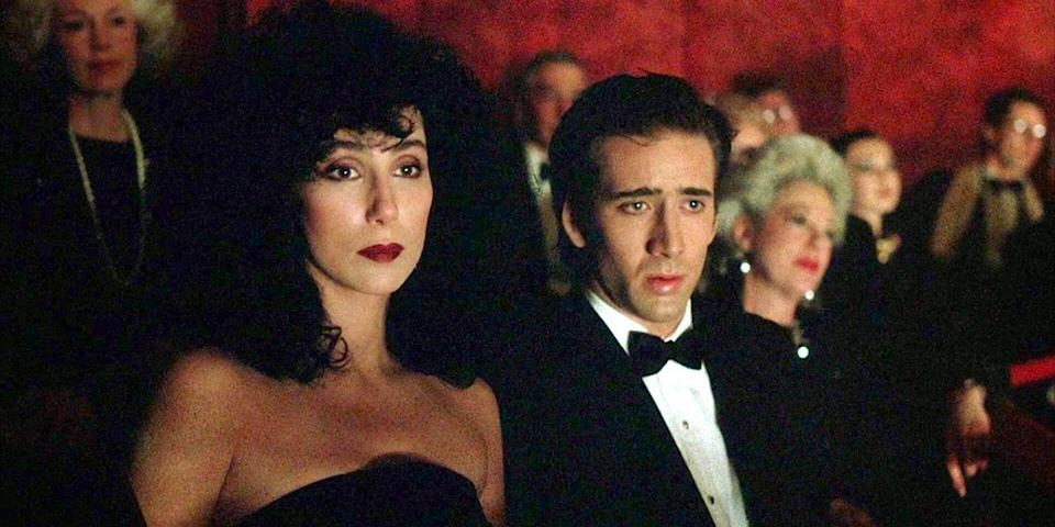 "<p>Nicolas Cage is Ronny Cammareri, the one-handed baker in love with his brother's fiancée in this Italian-American rom-com. But the real star is Cher as Loretta, a role that snagged her a Best Actress Oscar. That's amore. <a class=""link rapid-noclick-resp"" href=""https://www.amazon.com/dp/B003U2Q3ME?tag=syn-yahoo-20&ascsubtag=%5Bartid%7C10056.g.6498%5Bsrc%7Cyahoo-us"" rel=""nofollow noopener"" target=""_blank"" data-ylk=""slk:Watch Now"">Watch Now</a></p>"