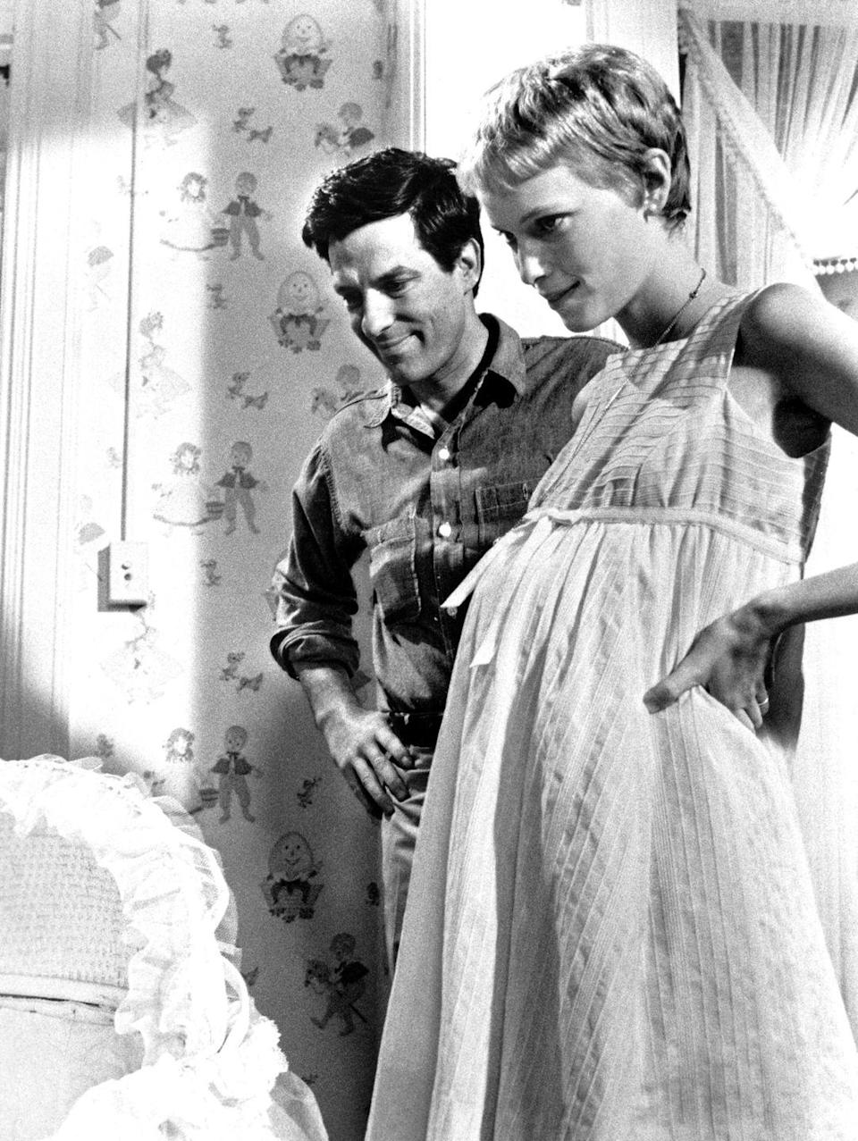 <p>Babydoll dresses were a favorite of moms-to-be for their open, flowy shape. Mia Farrow epitomized the look in <em>Rosemary's Baby</em>.</p>