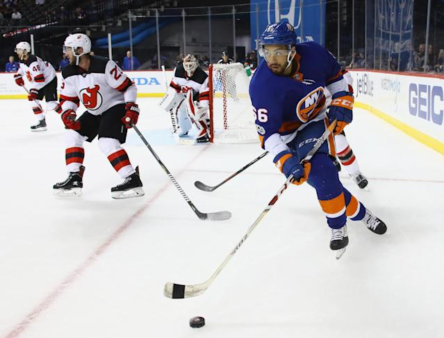 The New York Islanders haven't handled Josh Ho-Sang (#66) well, but there's still hope he can provide fantasy value. (Photo by Bruce Bennett/Getty Images)