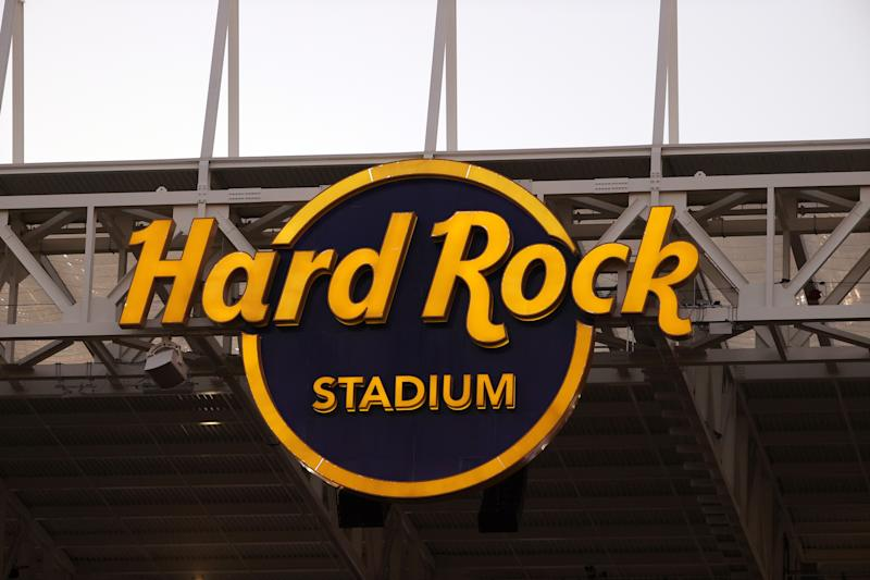 Two different groups staged protests outside of Hard Rock Stadium on Sunday.