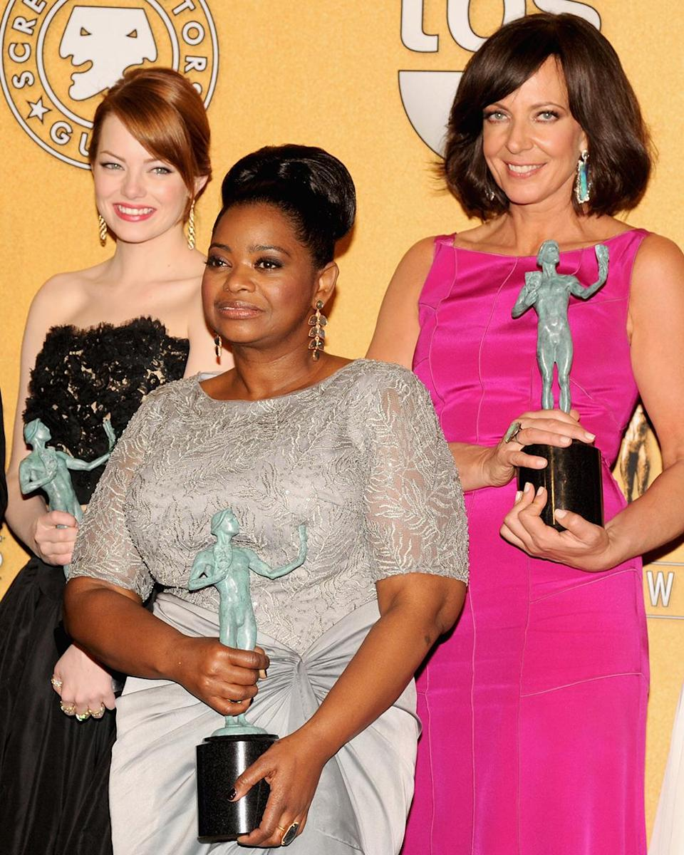 <p>The cast of <em>The Help,</em> including Stone, Octavia Spencer, and Allison Janney, won for Outstanding Performance by a Cast at the 2012 SAG awards. (Photo: Jeff Kravitz/FilmMagic) </p>