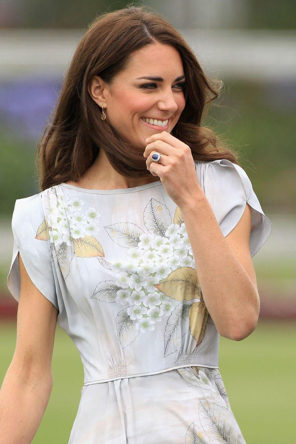 <p>Prince William proposed to Kate Middleton in 2010 with the same engagement ring Prince Charles gave to the late Princess Diana, who apparently chose the ring herself. The centerpiece is a 12-carat oval sapphire with 14 solitaire diamonds set in a white gold band.</p>