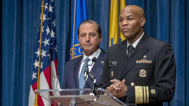 PHOTO: Surgeon General Jerome Adams and Health and Human Services Secretary Alex Azar speak at press conference, Aug. 29, 2019, in Washington, D.C. (Tasos Katopodis/Getty Images)