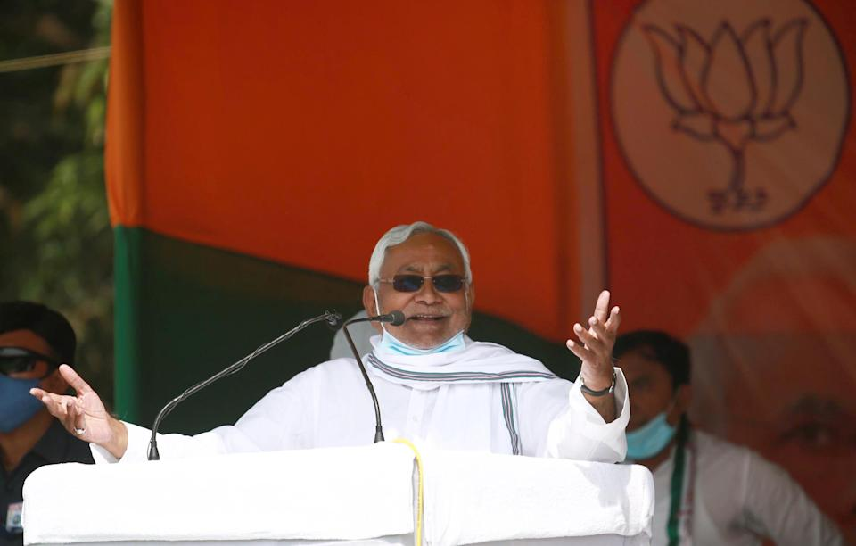 KATIHAR, INDIA - NOVEMBER 5:  Bihar Chief Minister Nitish Kumar addressing the crowd at an election rally ahead of the third phase of Bihar Assembly Elections on November 5, 2020 in Katihar, India.  (Photo by Santosh Kumar/Hindustan Times via Getty Images)
