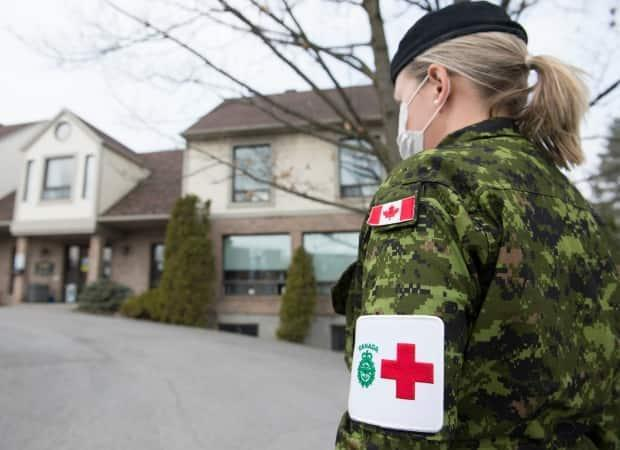 A member of the Canadian Armed Forces working on pandemic response at Residence Villa Val des Arbres, a long-term care home in Laval, Que., on Sunday, April 19, 2020. (Graham Hughes/The Canadian Press - image credit)