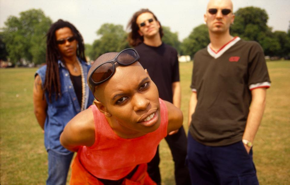 Skunk Anansie, group portrait, London, United Kingdom, 1995. (Photo by Martyn Goodacre/Getty Images)