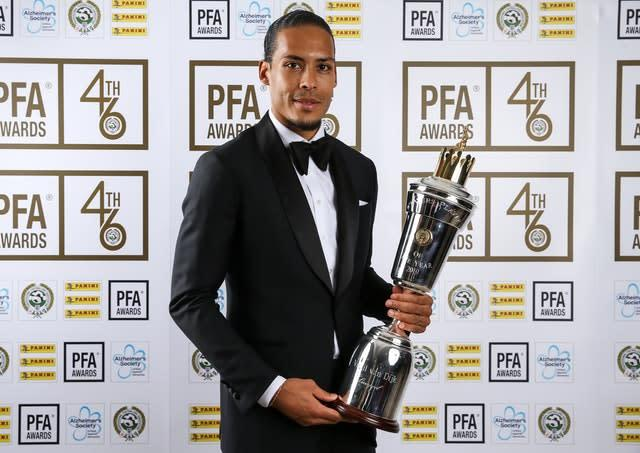 Liverpool's Virgil van Dijk won the 2019 PFA Player of the Year award (Barrington Coombs/PA)