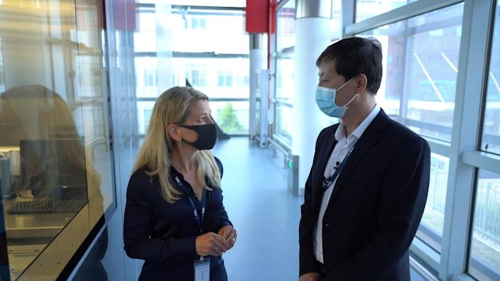 Image: NBC News' Janis Mackey Frayer tours the Wuhan Institute of Virology with Dr. Yuan Zhiming, Director of the Wuhan National Biosafety Laboratory. (NBC News)