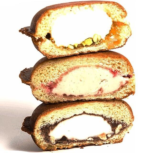 """<p>This Las Vegas ice cream parlor really took the """"sandwich"""" part of this dessert literally – they took a roll, filled it with gelato, and pressed it. (How does it not melt?!) <a href=""""https://www.facebook.com/pages/Art-of-Flavors/471084119630341?sk=timeline"""" rel=""""nofollow noopener"""" target=""""_blank"""" data-ylk=""""slk:Art of Flavors"""" class=""""link rapid-noclick-resp"""">Art of Flavors</a> mixes sweet and savory together in these sugary paninis. For starters, there's a sweet cream gelato, Nutella, and hazelnut combination, and a Gorgonzola gelato, pear chutney, and walnut creation.</p><p><i>Photo: <a href=""""https://instagram.com/p/p0JueUQnvM/"""" rel=""""nofollow noopener"""" target=""""_blank"""" data-ylk=""""slk:@dtzen/Instagram"""" class=""""link rapid-noclick-resp"""">@dtzen/Instagram</a></i><br></p>"""