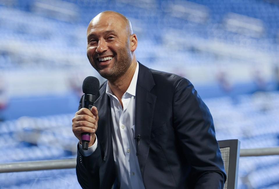 CEO of the Miami Marlins Derek Jeter speaks to the media to announce loanDepot as the exclusive naming rights partner for loanDepot park, formerly known as Marlins Park, on March 31, 2021 in Miami, Florida.