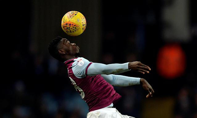 "Soccer Football - Championship - Aston Villa vs Preston North End - Villa Park, Birmingham, Britain - February 20, 2018 Aston Villa's Axel Tuanzebe in action Action Images/Adam Holt EDITORIAL USE ONLY. No use with unauthorized audio, video, data, fixture lists, club/league logos or ""live"" services. Online in-match use limited to 75 images, no video emulation. No use in betting, games or single club/league/player publications. Please contact your account representative for further details."