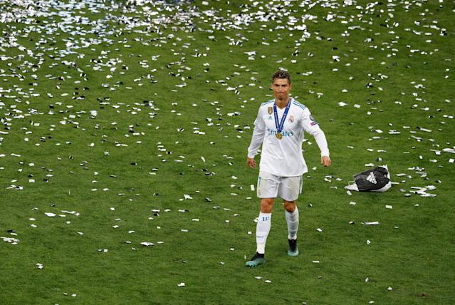 Soccer Football - Champions League Final - Real Madrid v Liverpool - NSC Olympic Stadium, Kiev, Ukraine - May 26, 2018 Real Madrid's Cristiano Ronaldo celebrates after winning the Champions League REUTERS/Phil Noble