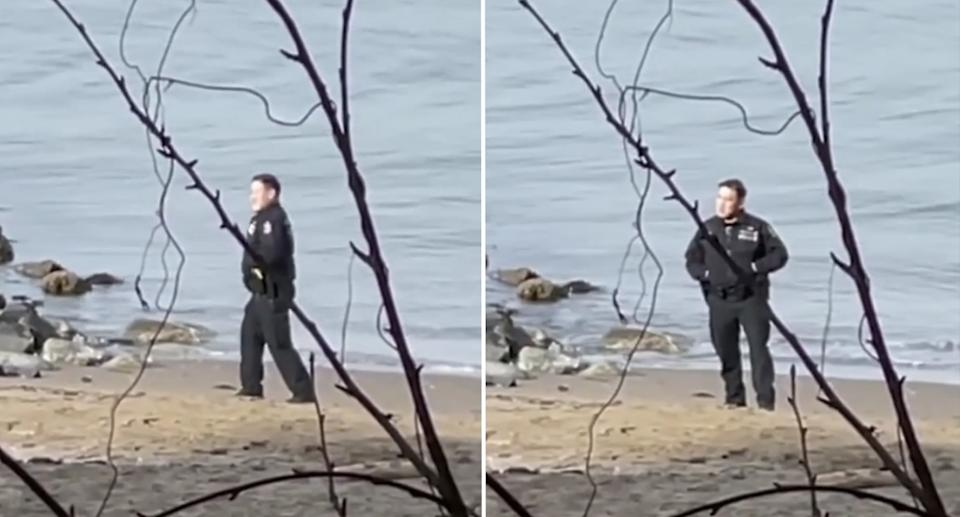 The cops laughing while taking the images at a beach in Stanley Park. Source: Storyful
