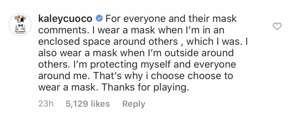 Kaley Cuoco defends herself in her Instagram comments. (Photo: Kaley Cuoco via Instagram)