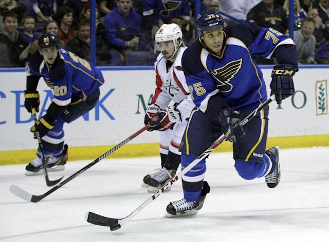 St. Louis Blues' Ryan Reaves (75) looks to pass the puck during the second period of an NHL hockey game against the Washington Capitals, Tuesday, April 8, 2014, in St. Louis.(AP Photo/Tom Gannam)