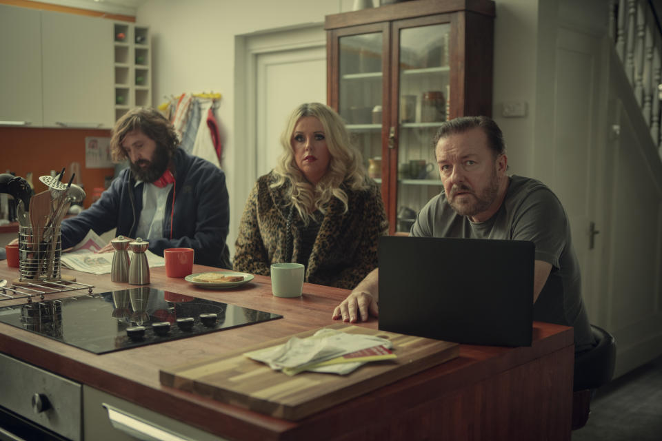 Joe Wilkinson, Roisin Conaughty, Ricky Gervais in After Life. (Netflix)
