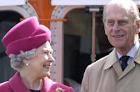 <p>The Queen smiles with Prince Philip at the start of her Golden Jubilee tour in the South West of England with celebrations in Falmouth. <br></p>
