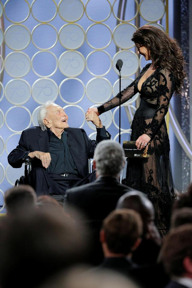 Kirk Douglas and Catherine Zeta-Jones (Photo: Paul Drinkwater/NBCUniversal via Getty Images)