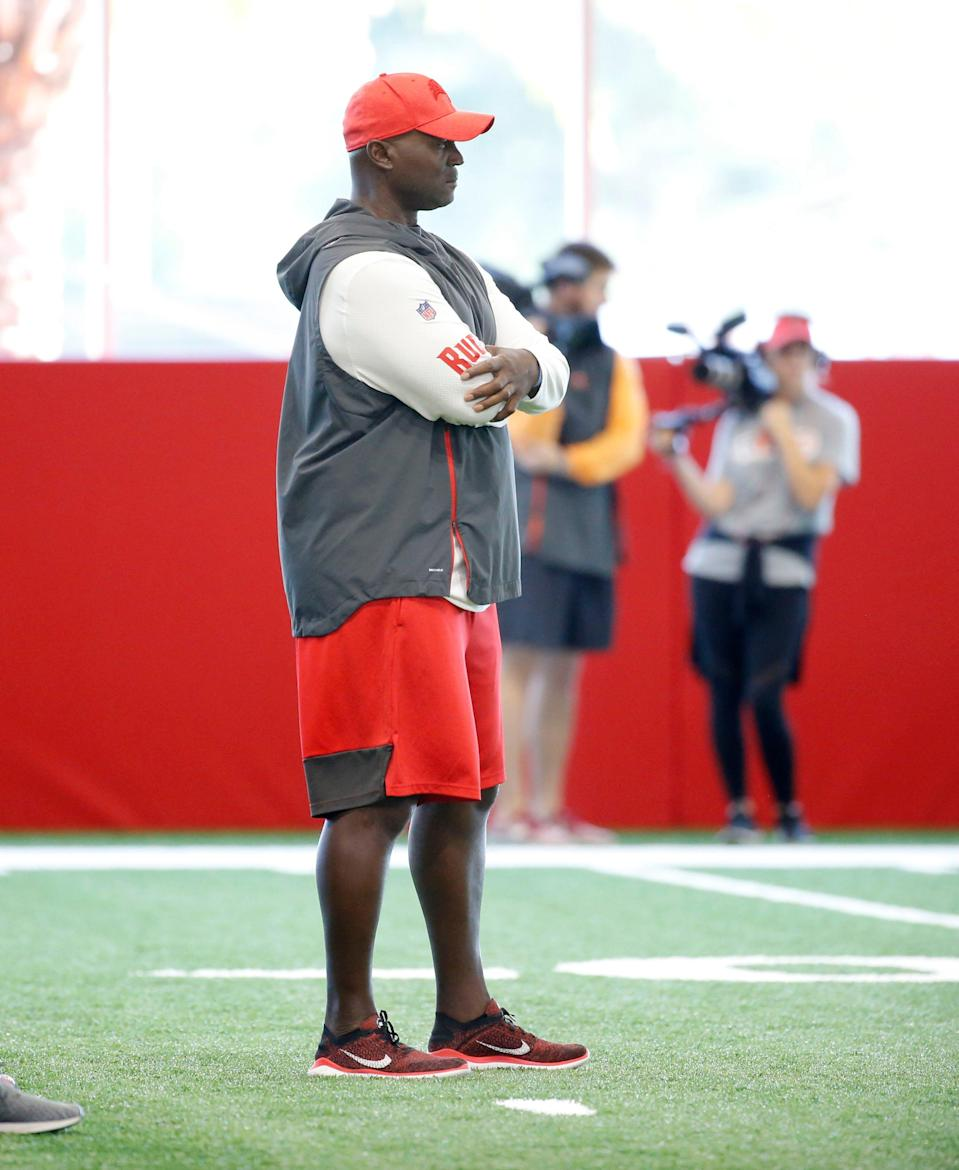 Tampa Bay Buccaneers defensive coordinator Todd Bowles on June 4, 2019 in Tampa, Fla.