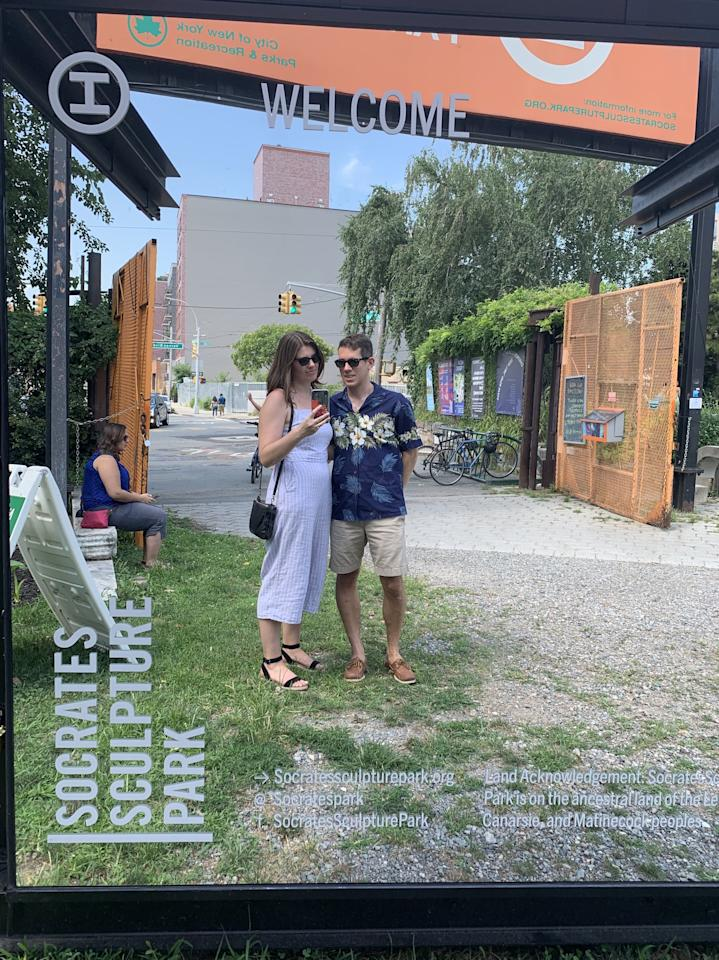 <p>Recently, I paired the jumpsuit with black flatform sandals, a simple black crossbody, and my sunglasses for an afternoon biking around Queens. </p>