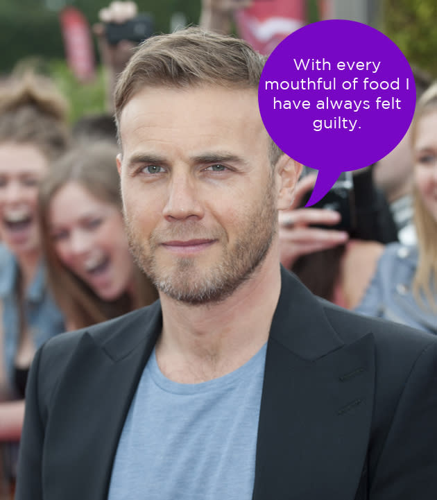 "Gary Barlow spoke about his ongoing weight battle this week. He said that food has always made him feel guilty, but now he's at a weight that has made him feel confident: ""I'm at a weight that I'm just so bloody happy with and I feel amazing. I'm full of confidence. It's going to sound shallow, but being happy with the way I look makes me spring out of bed in the morning and want to live life."" Aw, we're glad Gary!"