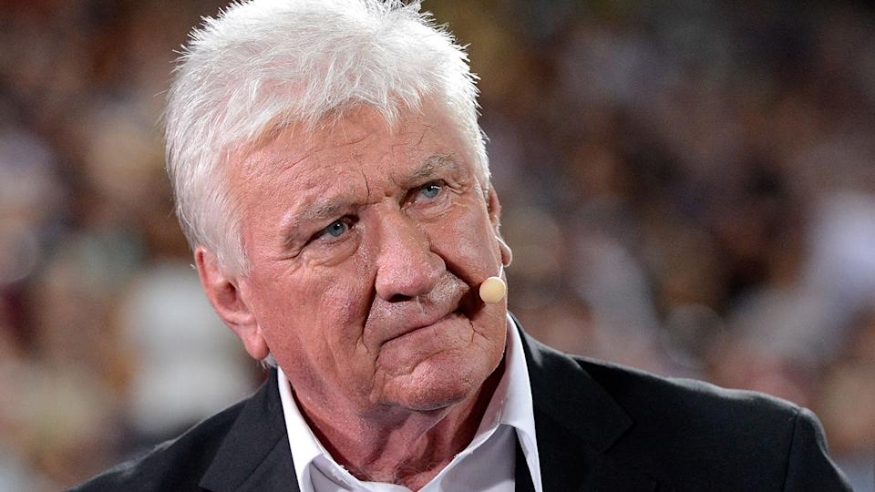 Ray Warren is seen here on the sidelines at an NRL match.