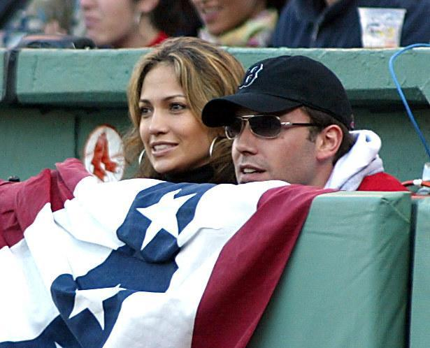 Jennifer Lopez and Ben Affleck attend a Red Sox game in 2003