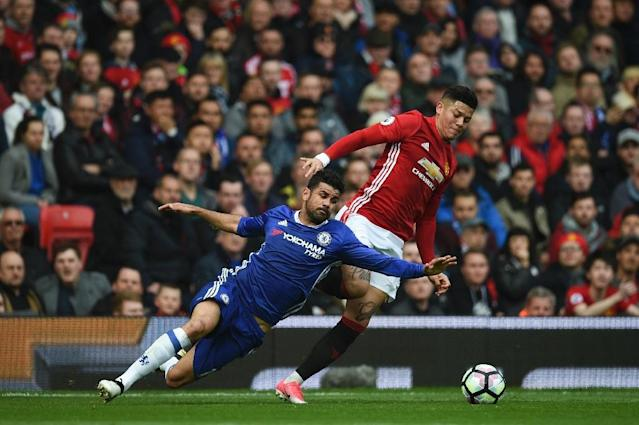 Chelsea's striker Diego Costa (L) vies with Manchester United's defender Marcos Rojo during the English Premier League football match between Manchester United and Chelsea on April 16, 2017 (AFP Photo/Oli SCARFF )