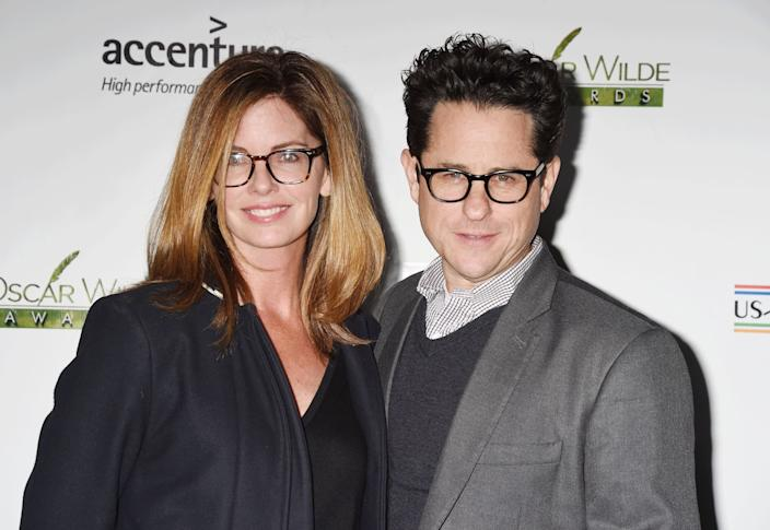 Director J.J. Abrams, right, and his wife, Katie McGrath. (Photo: Jeffrey Mayer/WireImage/Getty Images)
